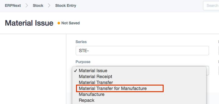 Stock Entry Purpose