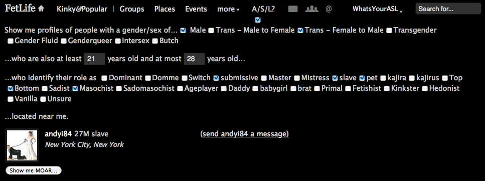 Screenshot of FetLife Age/Sex/Location Search having found a match.