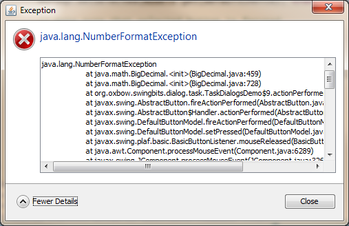 Windows LAF Exception Dialog