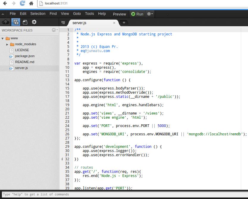 Cloud9 IDE Screenhost
