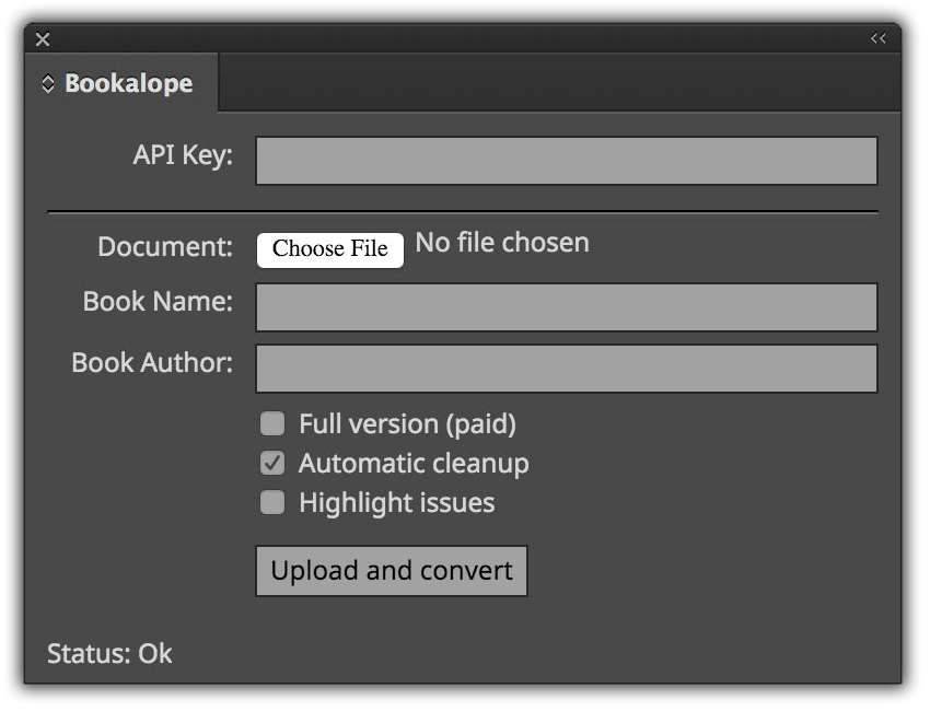 Bookalope InDesign: Upload panel