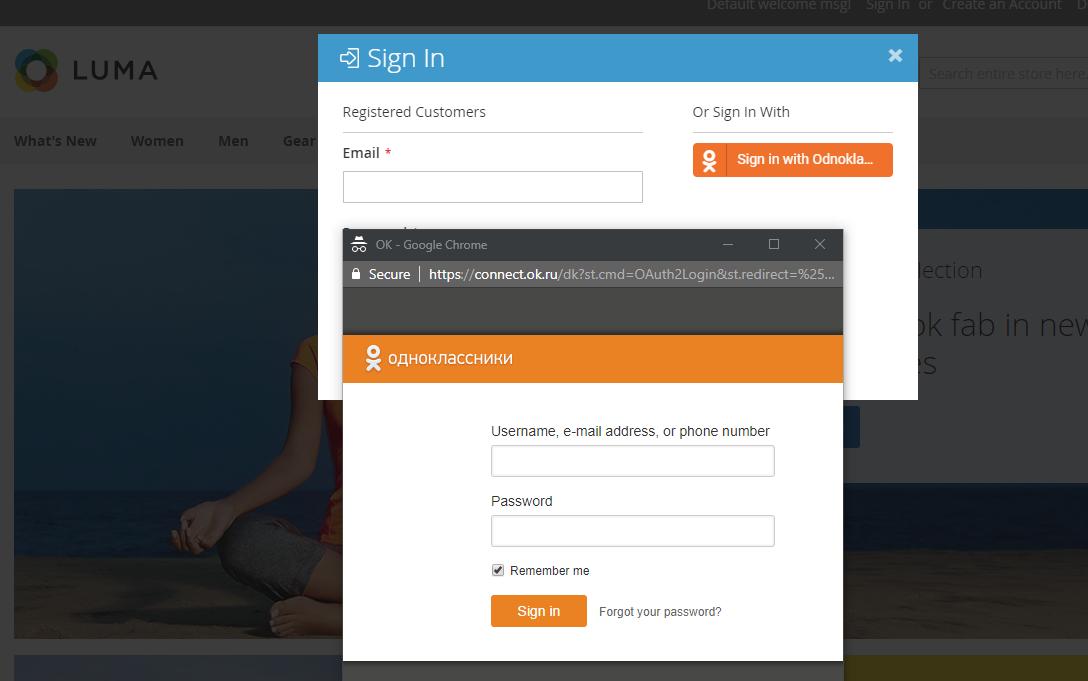 login using Odnoklassniki