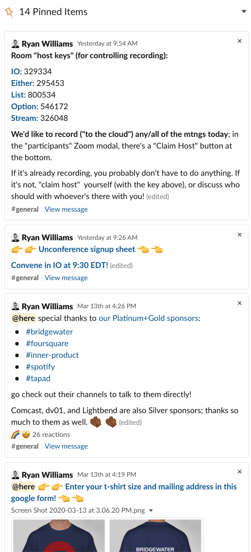 """Screenshot showing """"Pinned Messages"""" providing various important info about joining VCs, signing up for unconference talks, etc."""