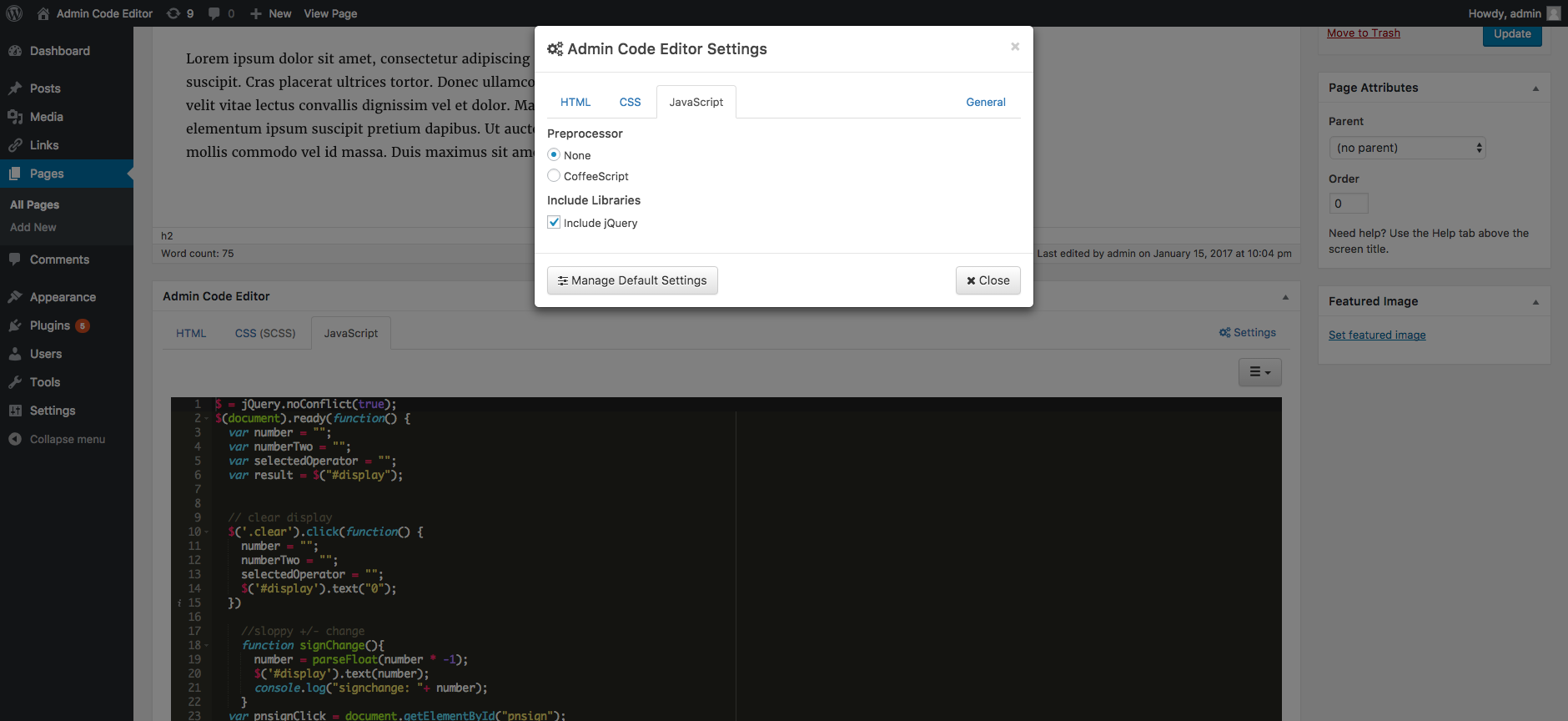 Settings modal window with the JavaScript tab active.