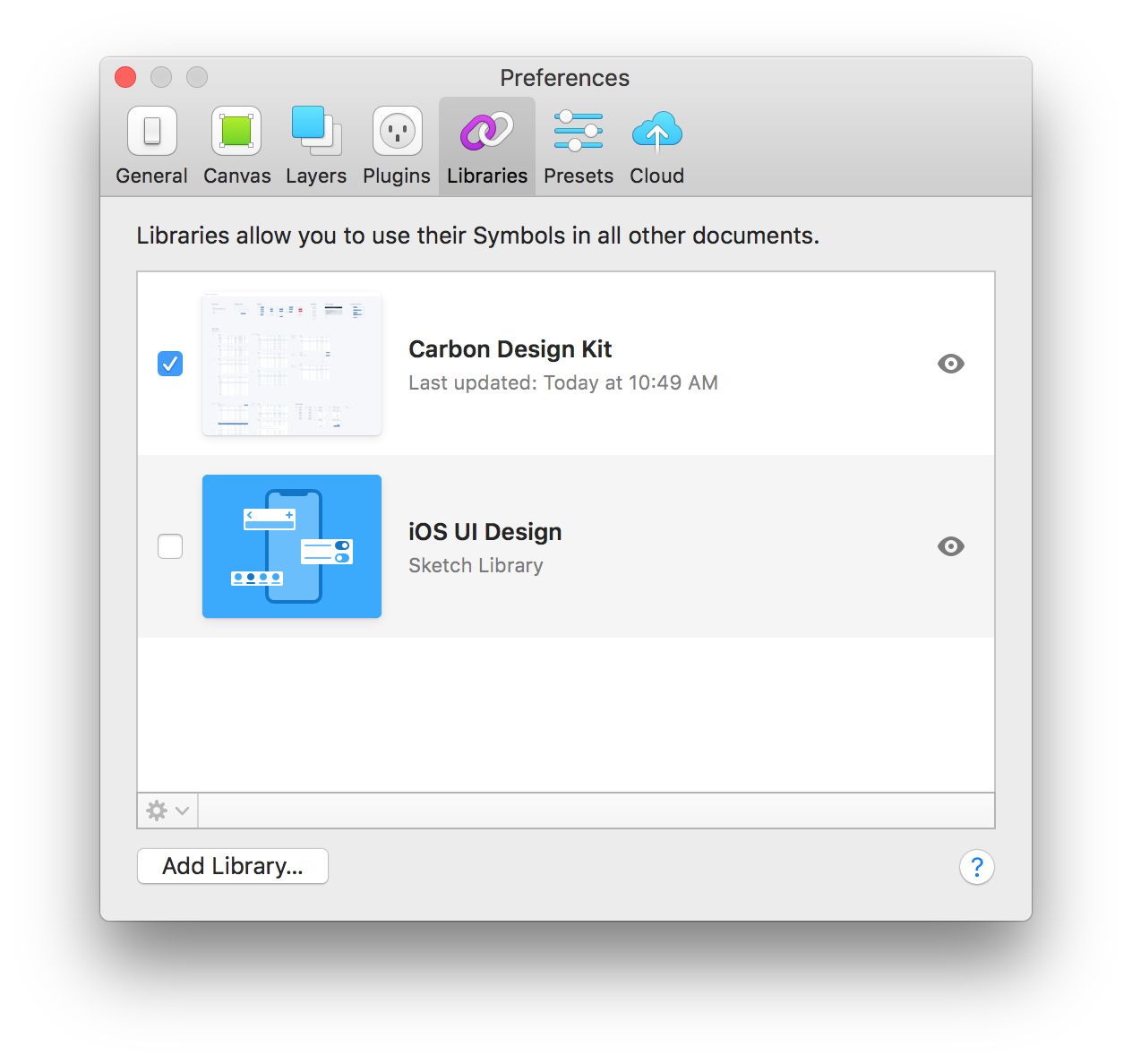 Sketch Preference modal, Libraries tab