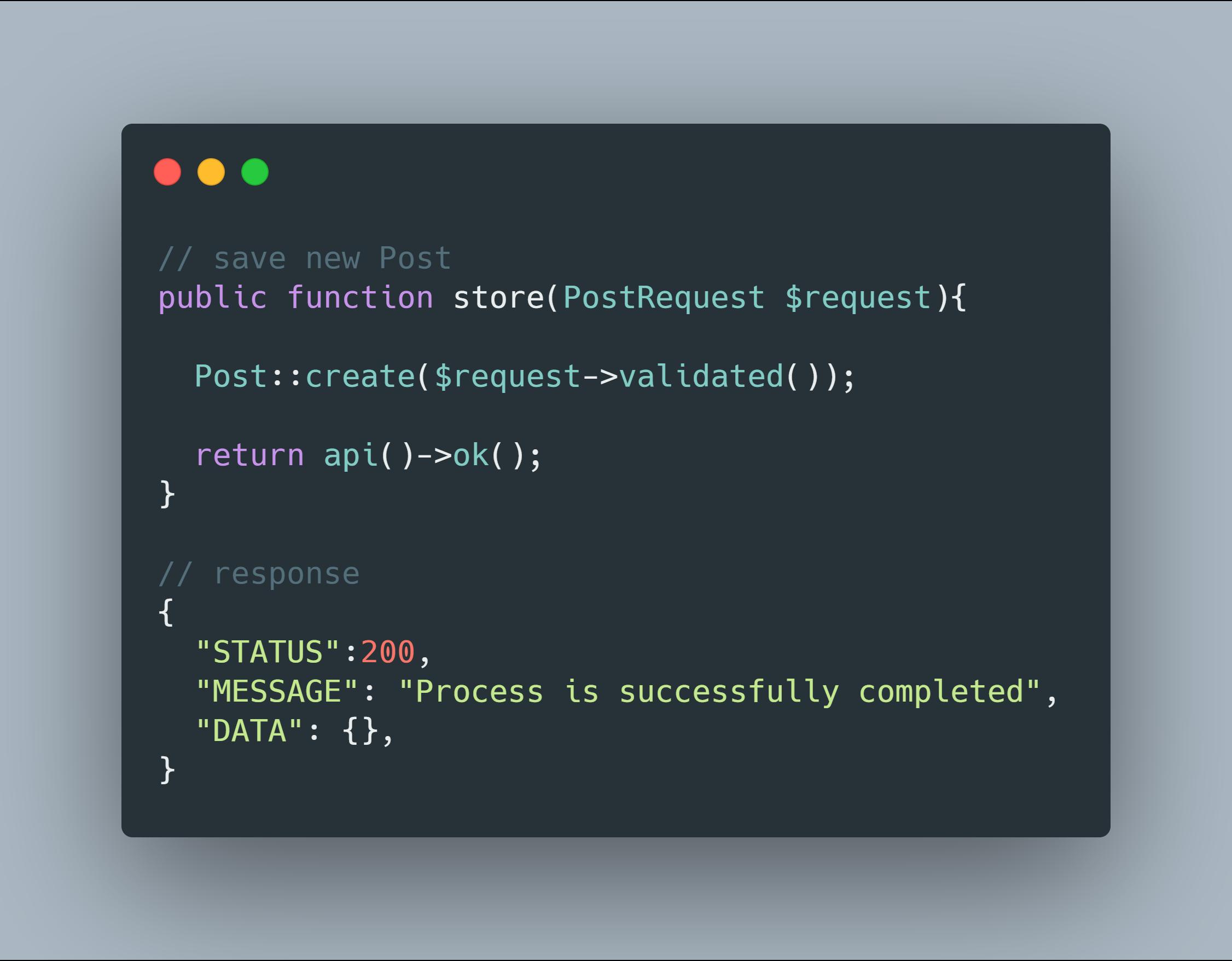 API response code sample