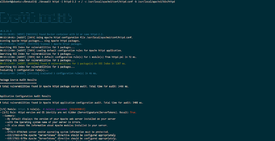 Screenshot of DevAudit auditing a Docker container