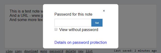 password protection screenshot