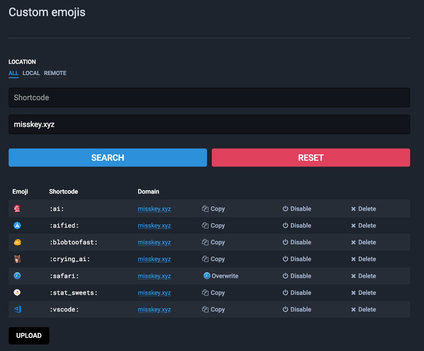 """Screenshot of """"Custom Emojis"""" settings page in Mastodon prior to version 3, which includes a """"copy"""" column which is replaced with an emoji if the local instance has an emoji for the corresponding shortcode."""