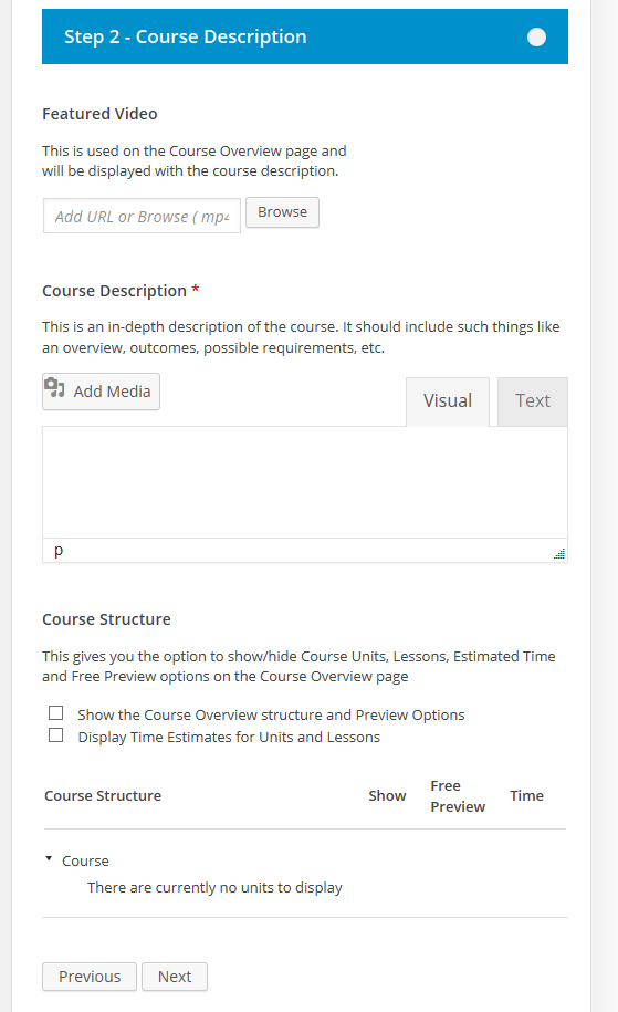 CoursePress - New Course - Course Description