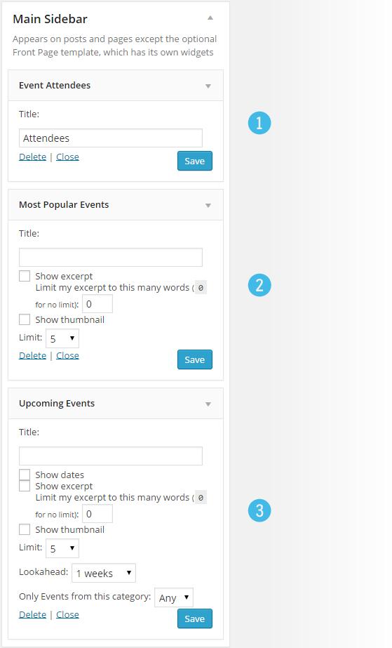 Events - Widgets