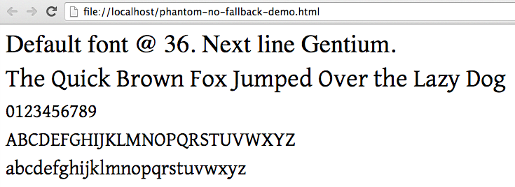 font-family fallback fonts not respected -- default font