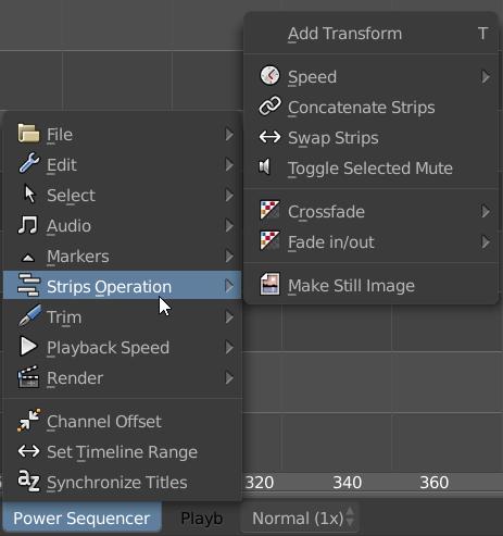 Power Sequencer toolbar menu