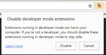 Disable developer mode extensions warning · Issue #484