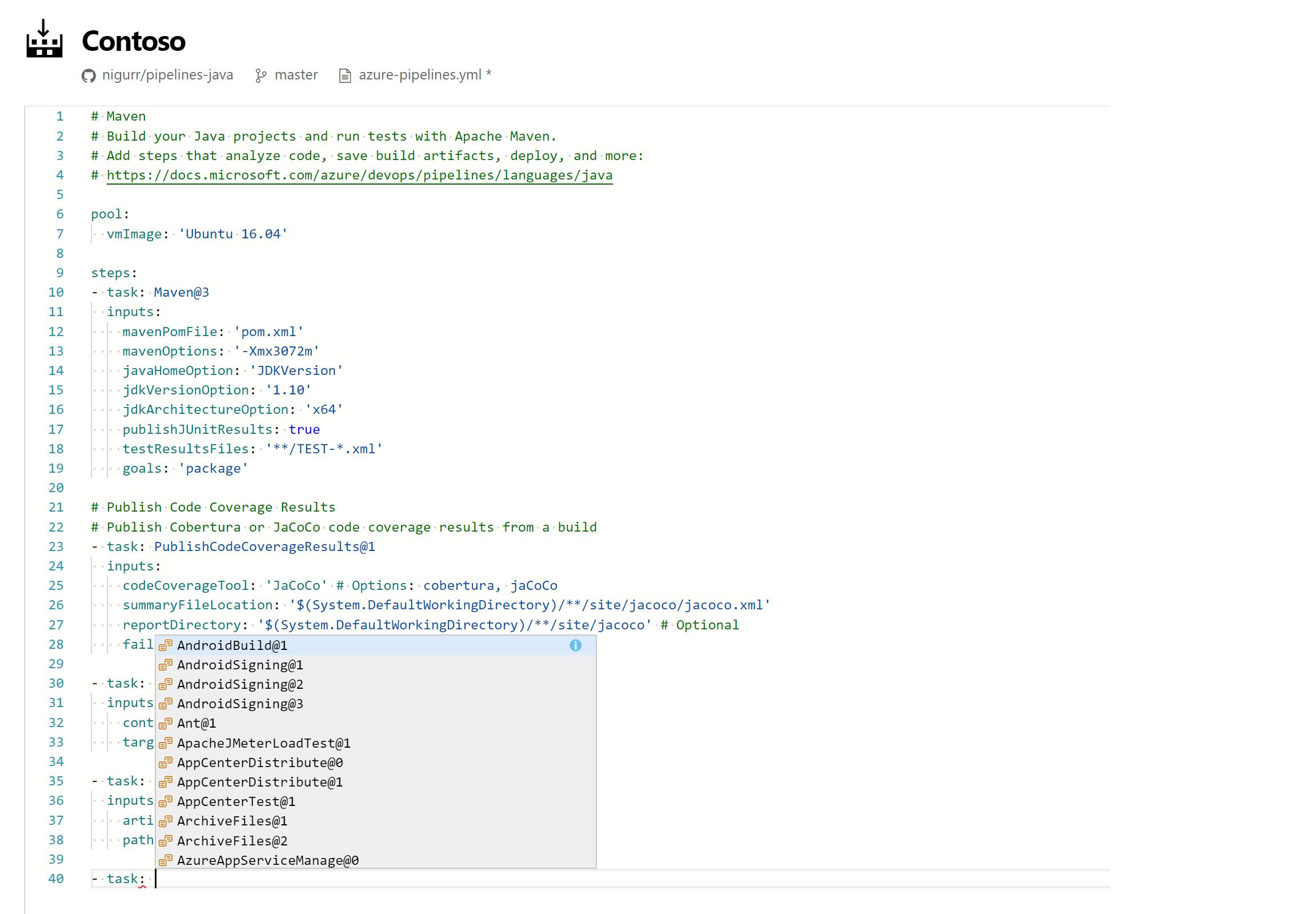 Web Editor Intellisence