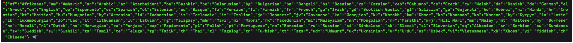 The list of supported Yandex.Translate languages