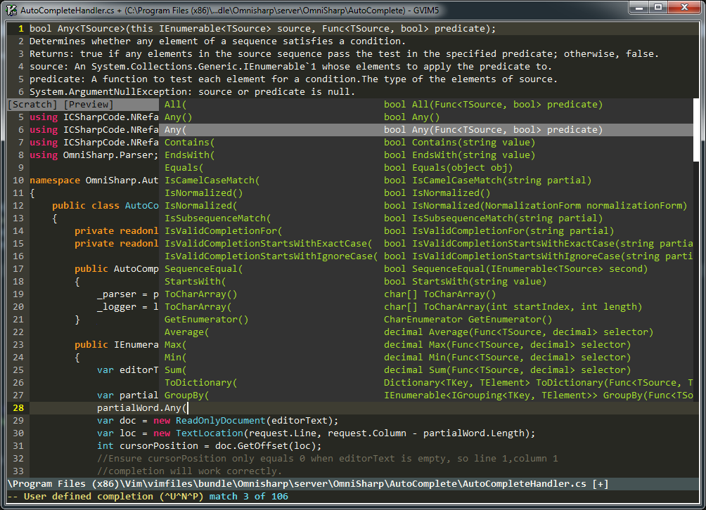 OmniSharp screenshot