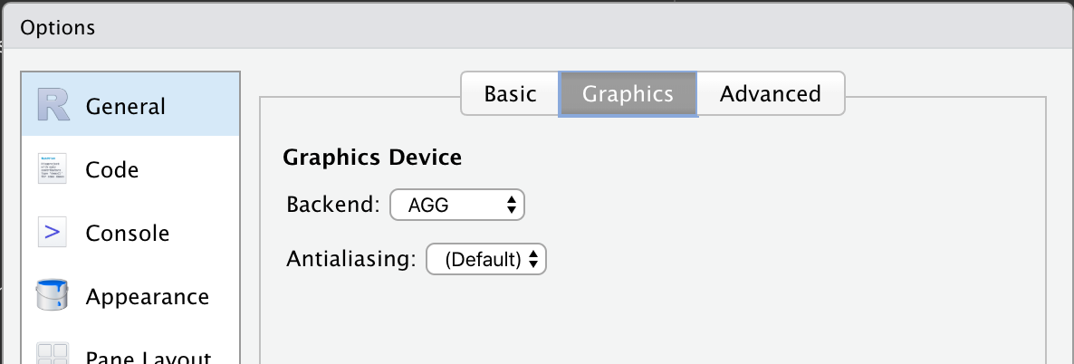 Setting ragg as backend in RStudio