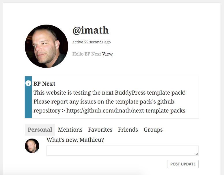 User's profile header
