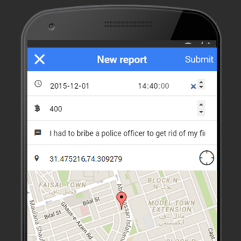 Screenshot of report screen